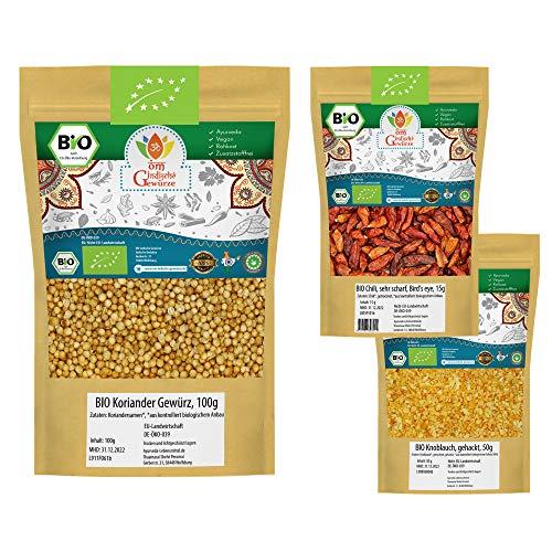 BIO Koriander + BIO Chilischoten + BIO Knoblauch | Koriander Samen, Bird Eye Chili, Knoblauch granulat | Für Gesunde Küche, Tee und Öl | 165g (100g + 15g + 50g)