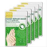 Hand Peel Mask 5 Pack, Moisturizing Gloves, Exfoliating Hand Peeling Mask, Hand Mask, Moisture Enhancing Gloves for Dry Hands, Repair Rough Skin Remove Dead Skin for Women or Men (Green)