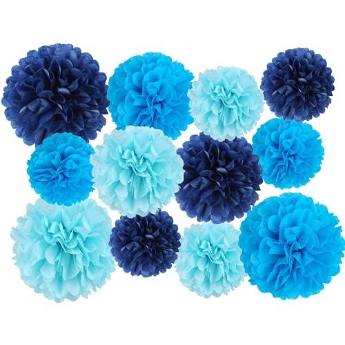 12 PCS 조직 POM POM 키트 생일 소년 베이비 샤워 보육원 졸업 BACHELORETTE 파티 장식 (블루 믹스)