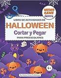 Libro de actividades de Halloween de cortar y pegar para preescolares  : Incluye juego de memorizar dentro!
