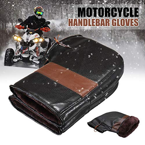 2pcs Waterproof Motorcycle Scooter Hand Bar Winter Gloves Motorbike Quad Bike Handlebar Warmer Gloves ATV Fur Mitts