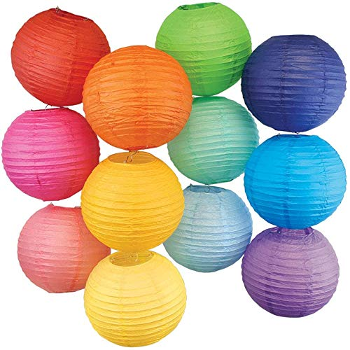 Just Artifacts 12pc Assorted Color Chinese Paper Lanterns (Size: 6-Inch)