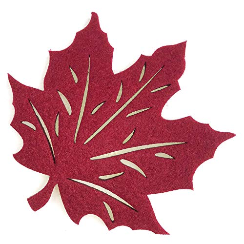 Maple Leaf Cutwork Felt Coasters, Set of 4 (Red)