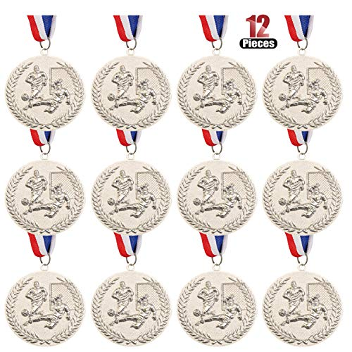Wrzbest Gold Silver Bronze Award Medals,Zinc Alloy Soccer Football Soccer Award Trophies Medal with Ribbon for Sports, Competitions, Celebration and Party Favors (Silver Medal)