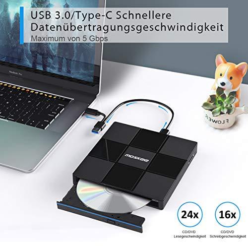 Externes DVD Laufwerk USB 3.0/Typ-C, Moskee Tragbarer DVD RW CD Brenner/SD-Karten Reader/niedriger Lärm/Plug&Play/Slim Superdrive für alle Laptop, Desktop, Mac, MacBook, Windows 10/8/7/XP und Linux