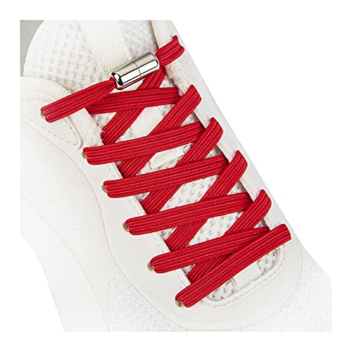 No Tie Shoelaces for Adults and Kids, Elastic Shoe Laces for Sneaker Red