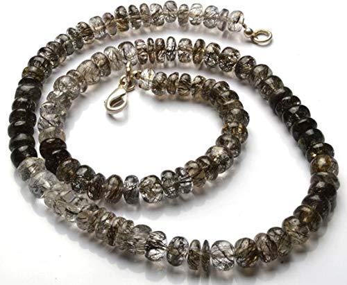 LKBEADS 1 naturligt snöre 40 cm full slinga – sällsynt svart rutinerade turmalinerade släta rondellpärlor pärlhalsband storlek 6 till 7 mm kod-HIGH-29314