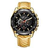 Reloj Hombre Forsining Automático con Cronógrafo Fecha Correa Piel Sumergible 30 metros (Oro/Negro)