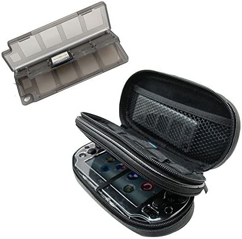 Khanka All-in-one Double Compartment Carry Travel Case Bag + Gray Game/Memory Card hard Case For Psvita PS Vita 1000 ...