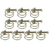 10 fascette di serraggio regolabili, con doppia pinza, 40 mm, kit per tubi di serraggio, zincate
