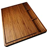 Large Bamboo Wood Cutting Board for Kitchen, Cheese Charcuterie Board Set with 3 Built-in...