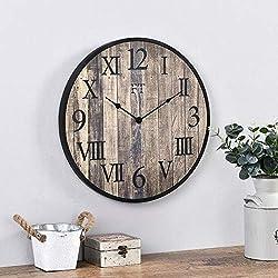 FirsTime & Co. Rustic Barnside Wall Clock, American Crafted, Dark Wood Slat, 20 x 1 x 20 ,