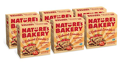 Nature's Bakery Oatmeal Crumble Bars, Strawberry, 6- 6 Count Boxes (36 Bars), Vegan Snacks, Non-GMO