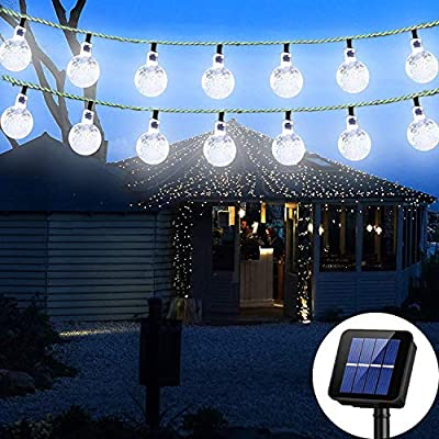 Irecey Solar String Lights Globe 38 Feet 66 Crystal Balls Waterproof LED Fairy Lights 8 Modes Outdoor Starry Lights Solar Powered String Light for Garden Yard Home Party Wedding Decoration