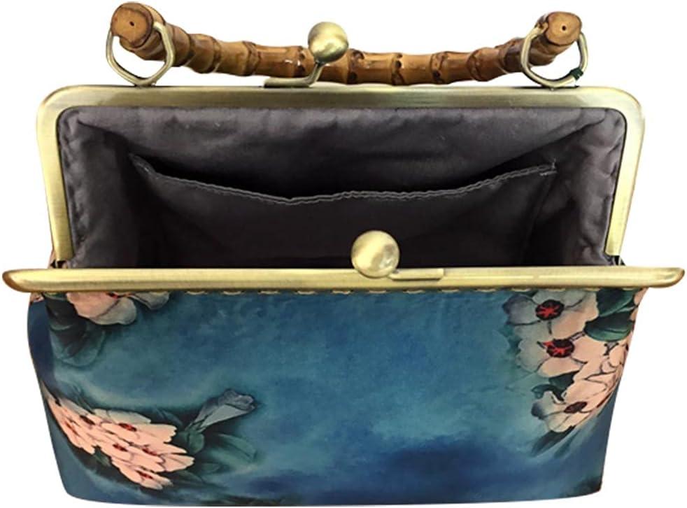Amosfun Vintage Handbag Handle Purse Chinese Style Jacquard Design Storage Pouch Women Girls Bag