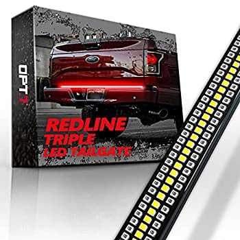 OPT7 60  Redline Triple LED Tailgate Light Bar w/Sequential RED Turn Signal - 1,200 LED Solid Beam - Weatherproof No Drill Install - Full Function Reverse Brake Running