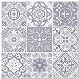 BeNice Metal Kitchen Backsplash Tiles Peel Stick, Moroccan Mosaic Wall Tiles Stickers Square 12'x12'Blue Gray