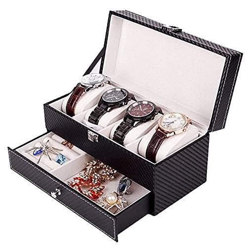 JIANGCJ Bella 4 Slot Watch Box Organizer Premium Jewelry and Wristwatch Mostrar Caso de Mostrador de Fibra de Carbono con cajón de joyería Titular de Reloj de Madera Negro