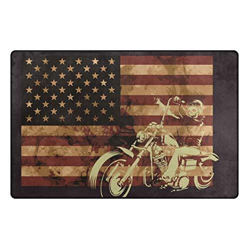 FANTAZIO Teppich, amerikanische Flagge, Totenkopf, Reiten, Motorrad, Eingangstürmatte, rutschfest, ideal als Teppichstopper, 78,7 x 50,8 cm/152,4 x 99,1 cm, Polyester, 1, 31 x 20 inch