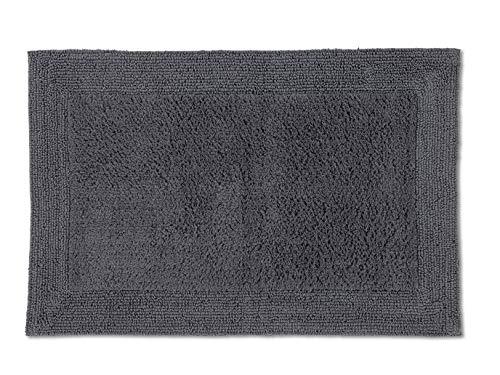 Schöner Wohnen Kollektion Badematte 60 x 90 cm – beidseitig verwendbar – waschbarer Badvorleger anthrazit – Bordüre – 100% Baumwolle
