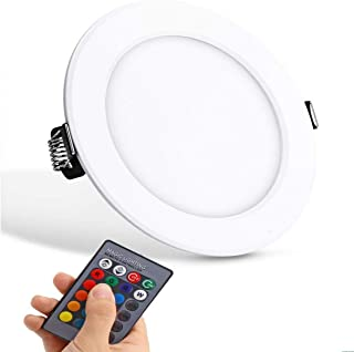 Ultra-thin LED Panel Light Round Concealed Recessed Ceiling Lamp Downlight, Color Changing RGB with Remote Control AC 85-265V (10W)