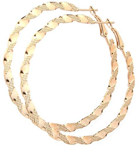 2LIVEfor Ohrringe Creolen Silber Gold Hoop Earrings Ohrhänger Hoops Creolen Groß Riesig Rund Breit verziert (Gold)