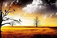 クロスステッチカウントキットスタンプキット家の装飾のためのクロスステッチパターン11Ctファブリック刺繡工芸品針仕事キット夕暮れ時の木のある風景16X20インチ