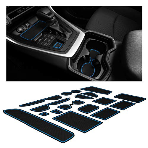 CupHolderHero Compatible with Toyota RAV4 Accessories 2019-2021 Premium Custom Interior Non-Slip Anti Dust Cup Holder Inserts, Center Console Liner Mats, Door Pocket Liners 15-pc Set (Blue Trim)