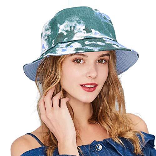 Reversible Cotton Bucket Hat Tie Dye Sun Hat Beach Safari Fishing Boonie Summer Cap for Men Women (A-Green)