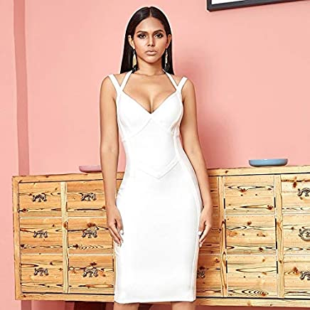 Party Backless Sling Bandage Celebrity Sexy Dresses for Women Ball Gown (Color : White, Size : M)