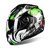 MXXQQ Casco da Motociclista, DOT/ECE R22.05 Regolamentazione di Sicurezza Casco per Adulti con Doppio Visiera Solare, Fodera EPS Staccabile, Elmo per Moto Regolabile Ventilazione,Verde,XXL