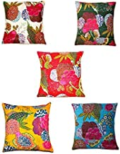 Set of 5 PC Indian Vintage White Embroidered Handmade Decorative Kantha Pillow Home Decor Boho Pillow Shame Indian Traditional Cotton Cushion Cover Kantha Floral Fruit Print, Boho Decor