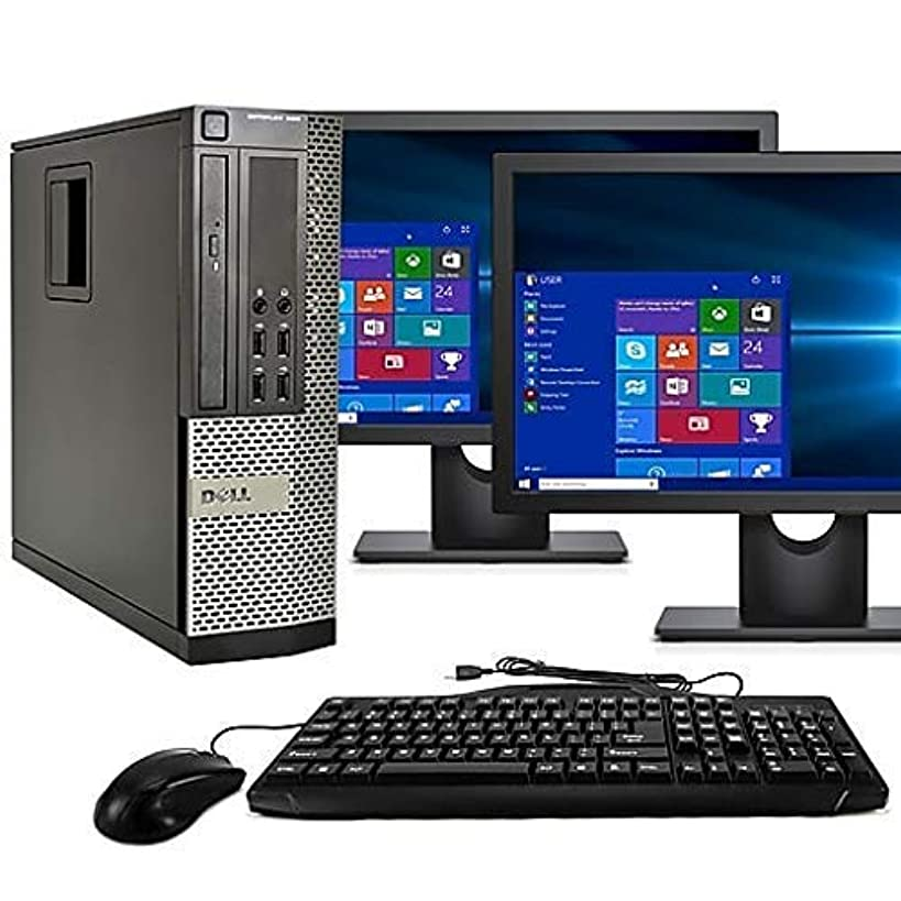 Dell Optiplex 9020 SFF Computer Desktop PC, Intel Core i5 Processor, 16 GB Ram, 2 TB Hard Drive, WiFi, Bluetooth 4.0, DVD-RW, Dual 19