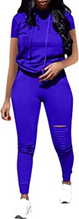 Women Casual 2 Piece Sport Outfits Short Sleeve Ripped Hole Pullover Hoodie Sweatpants Set Jumpsuits
