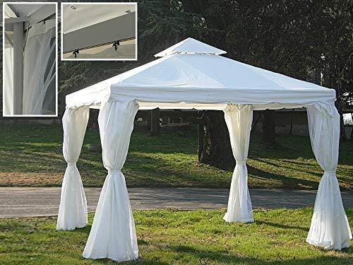 DISRAELI Gazebo Bianco in Alluminio e Copertura in Poli e PVC + Tenda e Zanzariera 3x4m