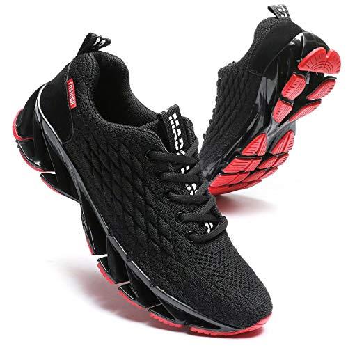 Pozvnn Mens Blade Sneakers Athletic Running Shoes Non Slip Walking Fashion Tennis Shoes(Black Red,8)