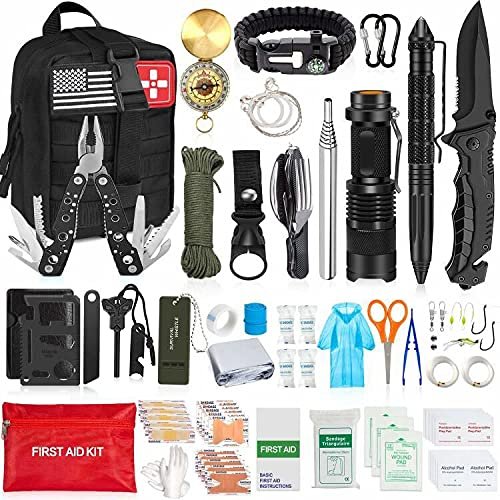 AOKIWO 200Pcs Emergency Survival Kit Professional Survival Gear Tool First Aid Kit SOS Emergency Survival Kit with Molle Pouch for Camping Adventures (Black)…