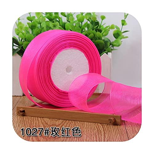 Ribbons Cinta de organza de 15 mm, 20 mm, 25 mm, 40 mm, 45 metros/rollo de Navidad, decoración de bodas, manualidades, manualidades, tela blanca, 1027 rosa roja-50 mm