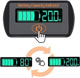 Icstation Battery Monitor Meter, DC 5V-66V Lithium Lead acid iron phosphate Battery Capacity Tester Percentage Level Voltage Monitor Indicator 12V 24V 36V 48V 60V LCD Display Module