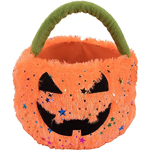 Plush Jack-O-Lantern Trick or Treat Bag for Halloween (8 x 7.7 x 8 Inches)