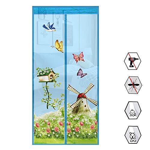 Preisvergleich Produktbild WSN Sommer Tür Bildschirm,  Mesh Vorhang Moskitonetz Windmühle Druck Tüll Mesh Bildschirm Garten Windmühle Magnetische Fliegen Insekt Tür Bildschirm mit Magneten, Blau, 100 * 210cm
