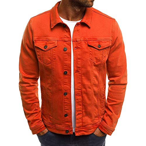Realdo Mens Denim Jacket, Men's Solid Color Vintage Button Tops Coat with Pocket(X-Large,Red)