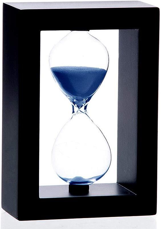 Bellaware 60 Minutes Hourglass Black Wooden Frame Blue Sand Timer