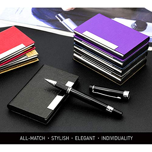 Business Card Holder, Business Card Case Luxury PU Leather & Stainless Steel Multi Card Case,Business Card Holder Wallet Credit Card ID Case/Holder for Men & Women. (Black)…