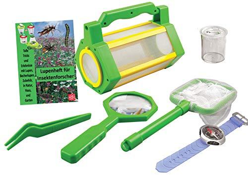 MEDUP BL033 Insektenfang Set mit Aufbewahrungsbox, Kescher, Lupe und Becherlupe, extra Kompass-Armband und Lupenheft mit vielen interessanten Informationen über Insekten