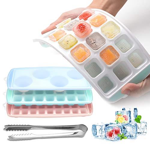 BIBURY Eiswürfelform Silikon mit Deckel, 3 Pack Stapelbar Eiswürfelbehälter mit Pinzette, Eiswurfel Form Ice Cube Tray für Whisky,Cocktail,Gelee, Eiswürfelschalen BPA-Frei, LFGB Zertifiziert