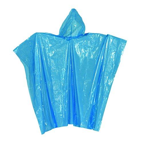 Unbekannt Poncho de Pluie Bleu avec Capuche Universel Lot de 5 Tailles 130 x 124 cm Ultra Petit zusammengefaltet