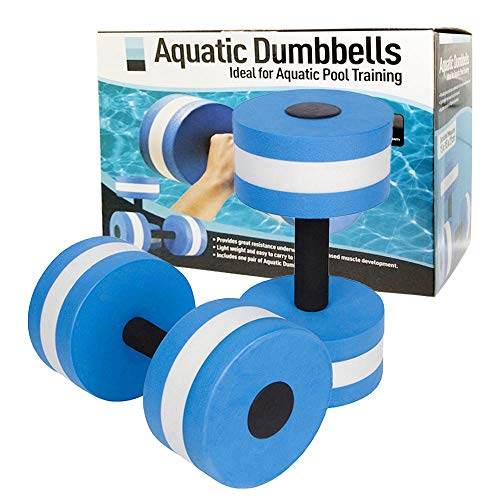 Water Dumbbells Aquatic Exercise Dumbells Set of 2 Water Aerobic Exercise Foam Dumbbells Water Fitness Exercises Equipment for Water Aerobics Fitness and Pool Exercises (Blue)