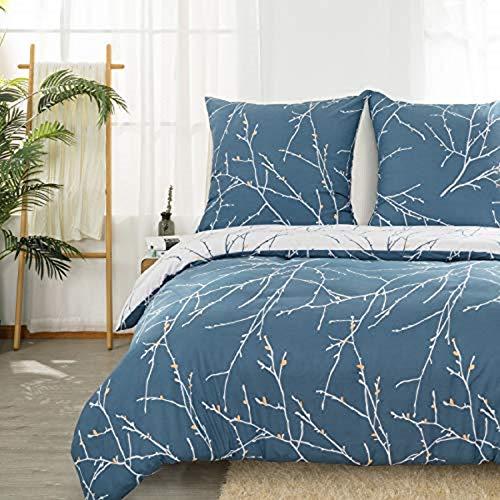Bedsure Bettwäsche 200X200 Set mikrofaser - himmelblau Bettbezug mit schickem Zweige Muster, weiche Flauschige Bettbezüge 3 teilig mit Reißverschluss und 2 mal 80x82cm Kissenbezug