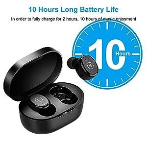 Ankbit Wireless Earbuds with Mic, Bluetooth 5.0 Wireless Earbuds, Water Resist Bluetooth in Ear Headphones USB-C Charging Case/Mics,Black